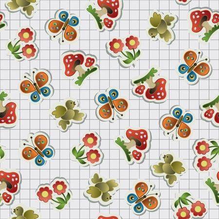 applique flower: Scrapbook seamless with butterflies Illustration