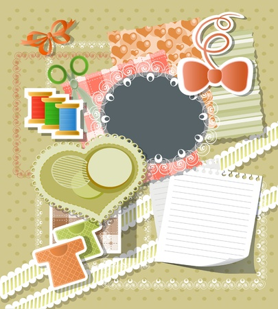 Scrapbook background in retro stile Vector