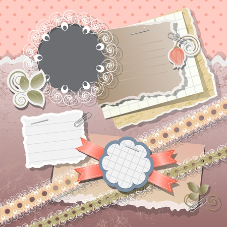 Scrapbook elements in vintage stile
