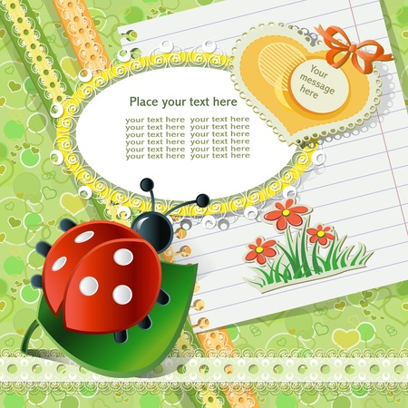 Vector baby card with scrapbook elements Stock Vector - 12493571