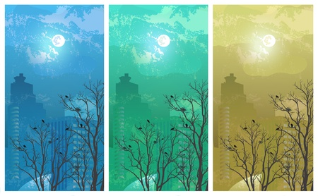 Urban landscape in spring, three variants  Vector