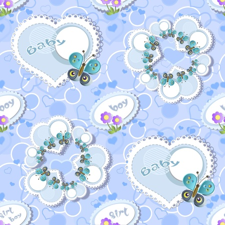 Seamless with  frames  and butterflies  Vector