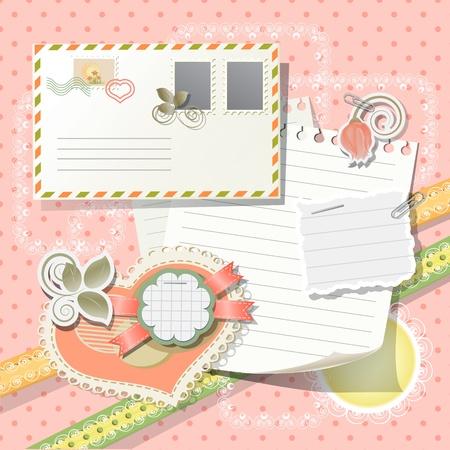 envelope decoration: Los elementos del libro de recuerdos en estilo Vintage