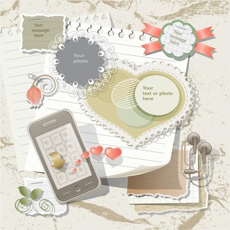 papel scrapbook: Los elementos del libro de recuerdos en estilo Vintage