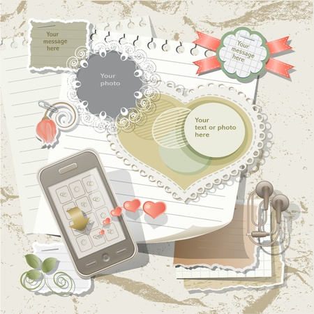 scrapbook element: Sammelalbum Elemente im Vintage-Stil Illustration