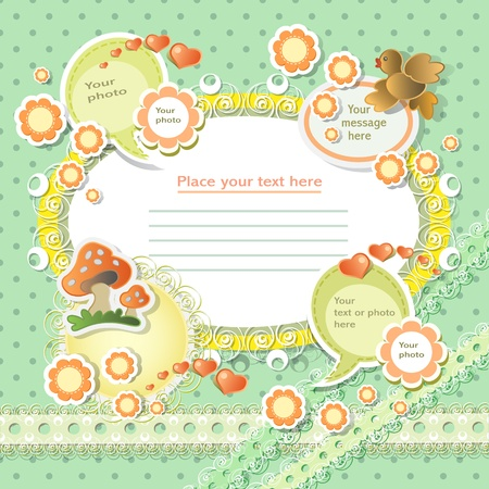 Vector baby card with scrapbook elements