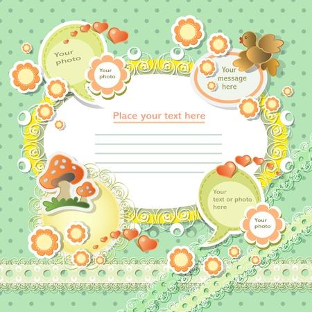 Vector tarjeta de bebé con los elementos del libro de recuerdos Ilustración de vector