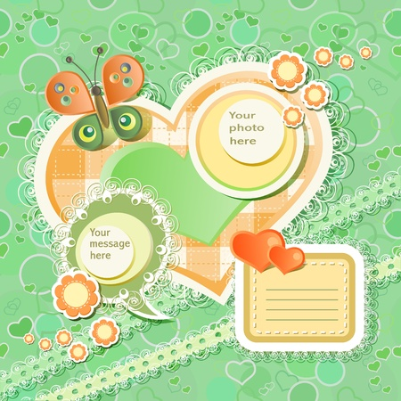 baby scrapbook: Vector baby card with scrapbook elements