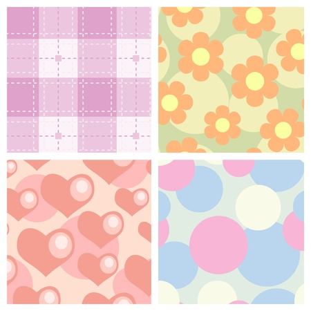 Set of simplicity seamless for fabric or wrapping. Vector