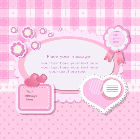 Pink background with scrapbook elements in vintage stile. Vector
