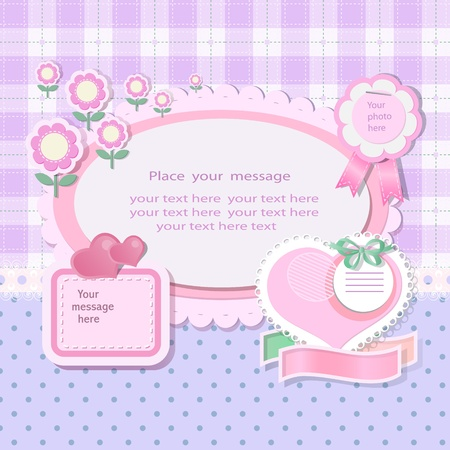 Pastel background with scrapbook elements in vintage stile  Vector
