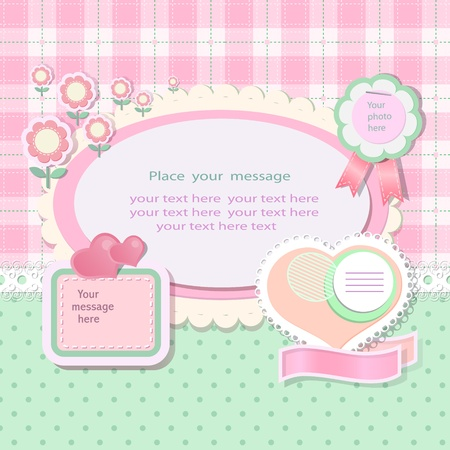 scrapbooking paper: Pastel background with scrapbook elements