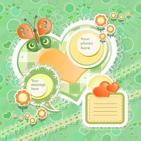 Vector baby card with scrapbook elements Stock Vector - 12802716