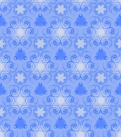 Floral abstract background in blue tones  Vector