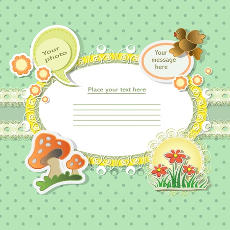 Vector baby card with scrapbook elements Stock Vector - 12802723