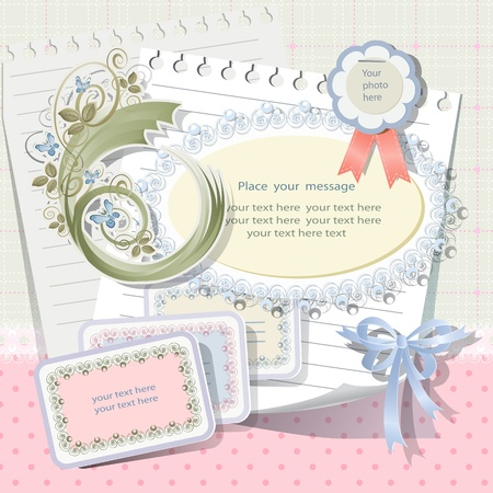 Vector card with scrapbook elements. Vector