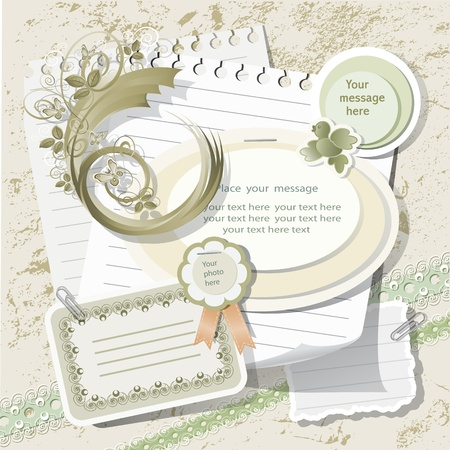Scrapbook background in vintage stile Stock Vector - 12802729