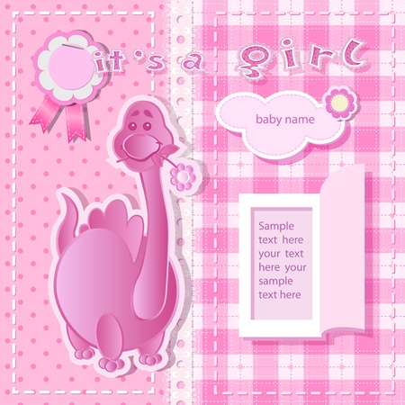 baby dragon: Pink background with scrapbook elements