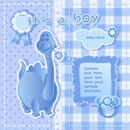 baby boy shower: Blue background for boy  with  scrapbook elements