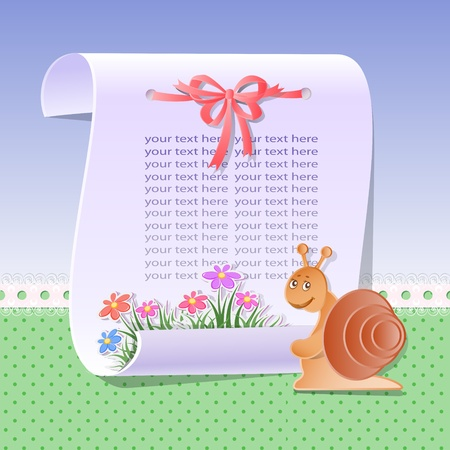 Baby background with scroll and flowers Vector