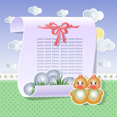 Baby background with chicken in bright tones Vector