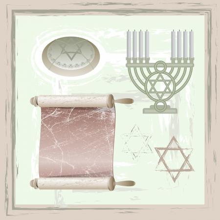 pesach: Set of hanukkah symbols in vintage style