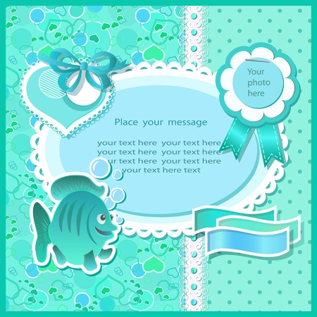 Baby shower with scrapbook elements in green tones Vector