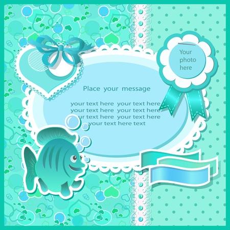 Baby shower with scrapbook elements in green tones Vector