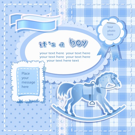 Baby shower for boy with scrapbook elements Illustration