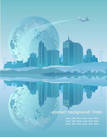 Abstract background with Earth, buildings and airplane in blue tones