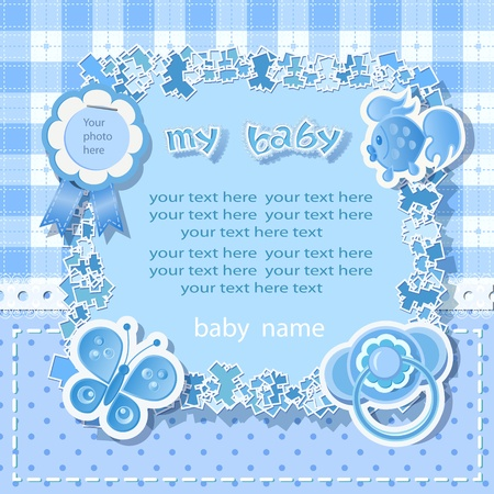 Blue background for boy  with  scrapbook elements in vintage stile. Vector
