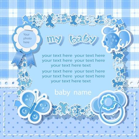 album background: Blue background for boy  with  scrapbook elements in vintage stile. Illustration