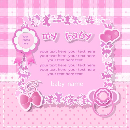 Pink background with scrapbook elements in vintage stile.