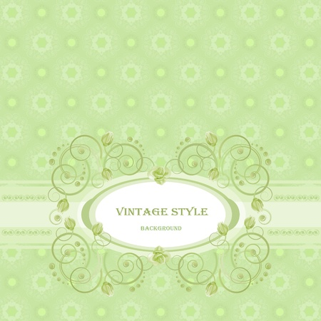 Vintage frame in green tones. Vector