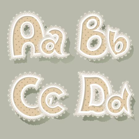 scrap booking: Set of letters in vintage stile.