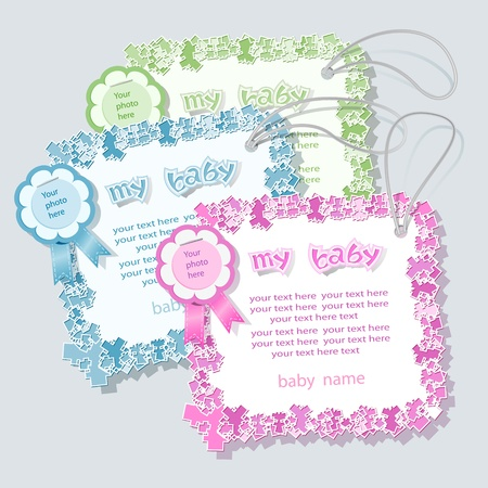 Label for baby shower in tree colors. Vector
