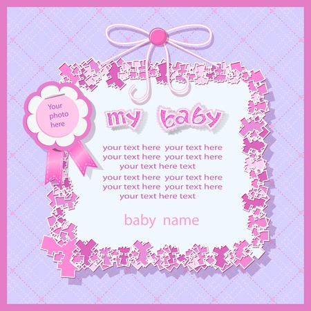 Baby shower in violet tones Vector