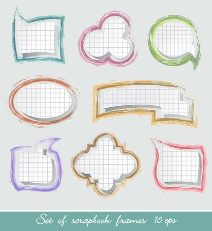Set of scrapbook frames in bright colors Vector