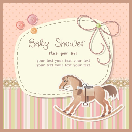 album greetings: Baby shower for boy with scrapbook elements Illustration