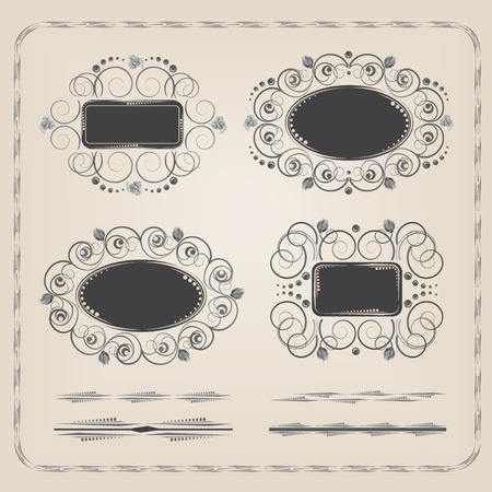 Calligraphyc frames and brushes in vintage style Çizim