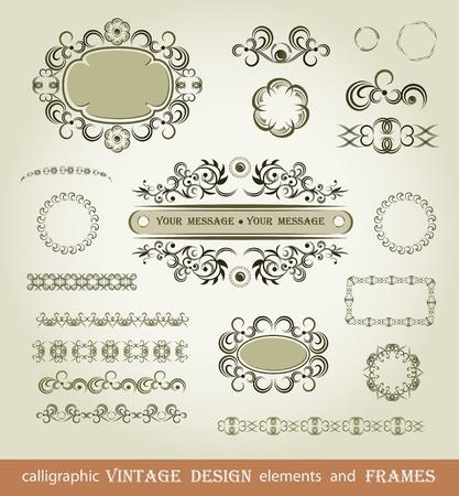 ornamentations: Set di elementi di calligrafia e spazzole