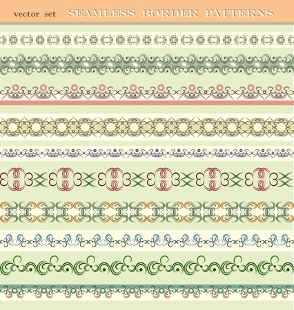 Set of seamless border patterns, brushes included. Vector
