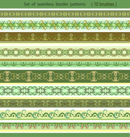 Set of seamless border patterns, brushes included Vector