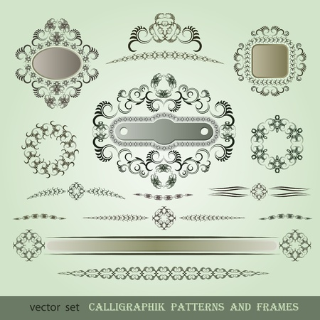 Set of calligraphic patterns and frames Stock Vector - 13260935