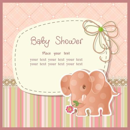 papel scrapbook: Baby shower con los elementos del libro de recuerdos con estilo retro Vectores
