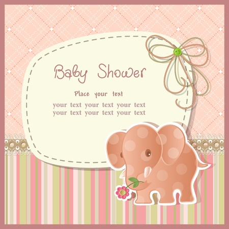 baby scrapbook: Baby shower with scrapbook elements in retro style