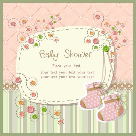 shower b�b�: Baby shower avec des �l�ments de scrapbook Illustration