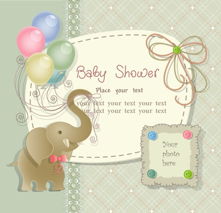 baby elephant: Baby shower with scrapbook elements in retro style