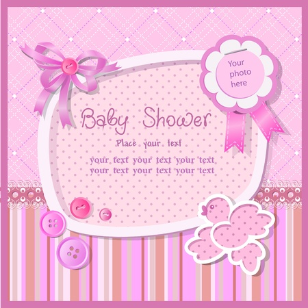 Baby shower with scrapbook elements Vector
