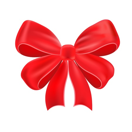 descriptive color: Red bow, isolated on white